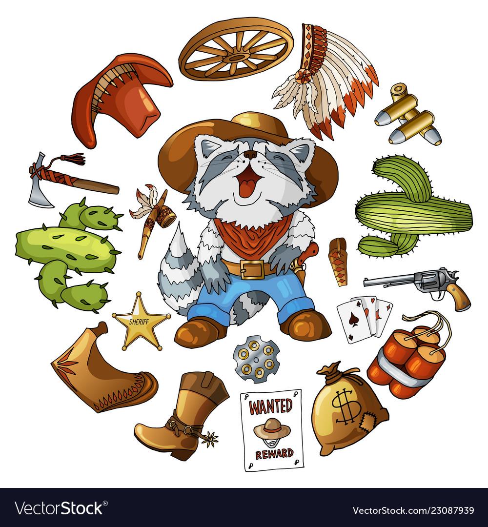 Cartoon character american raccoon set classic