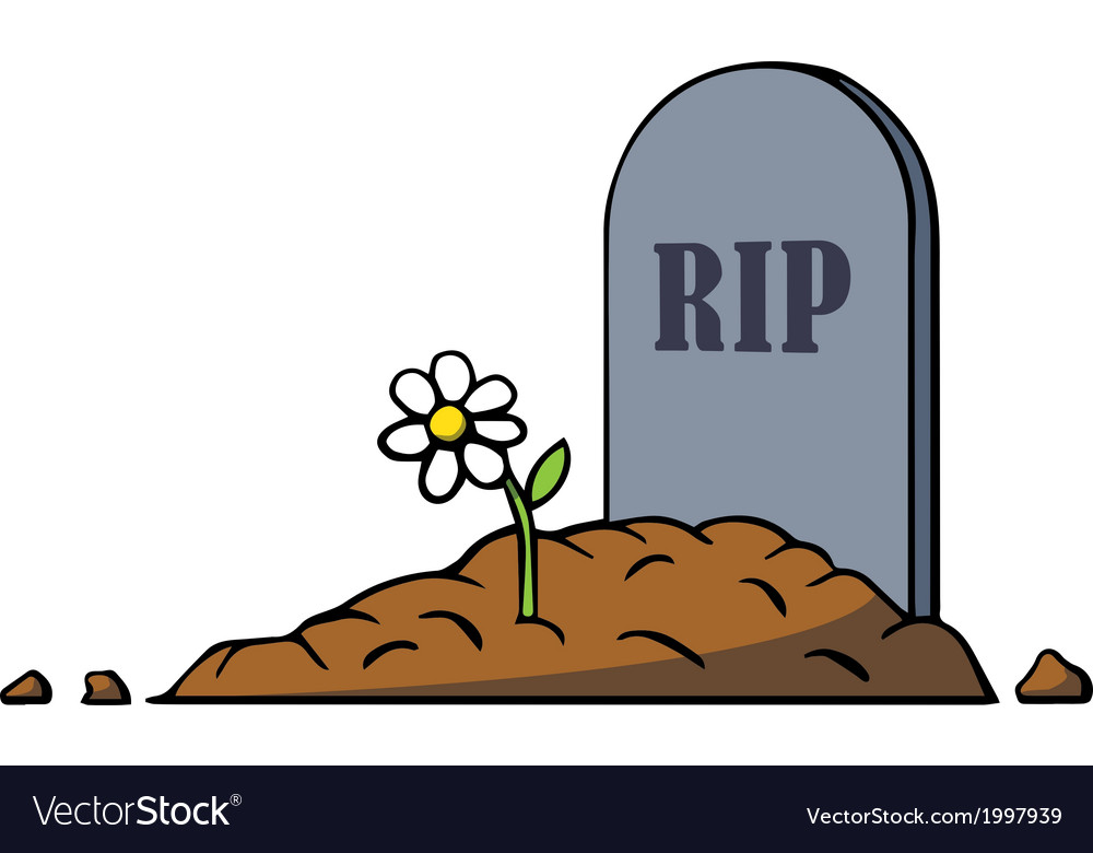 Cartoon grave with tombstone and flower