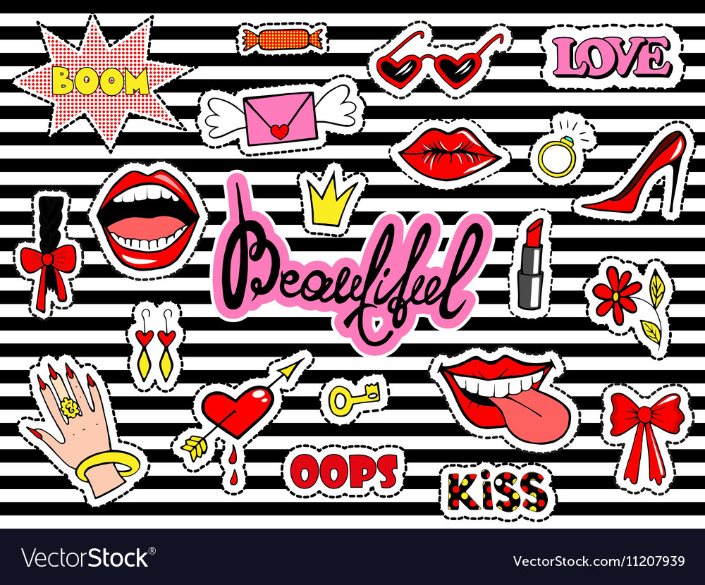 Cute fashion patch badges with lips heart ring