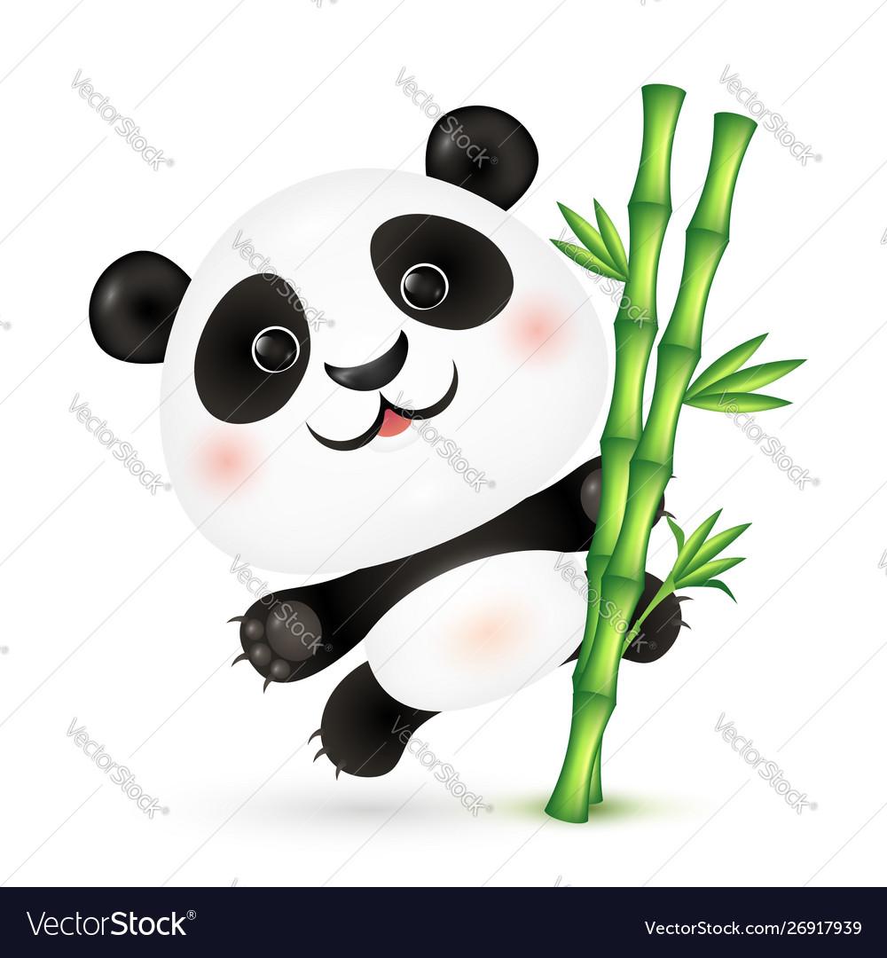 Cute panda on bamboo stick