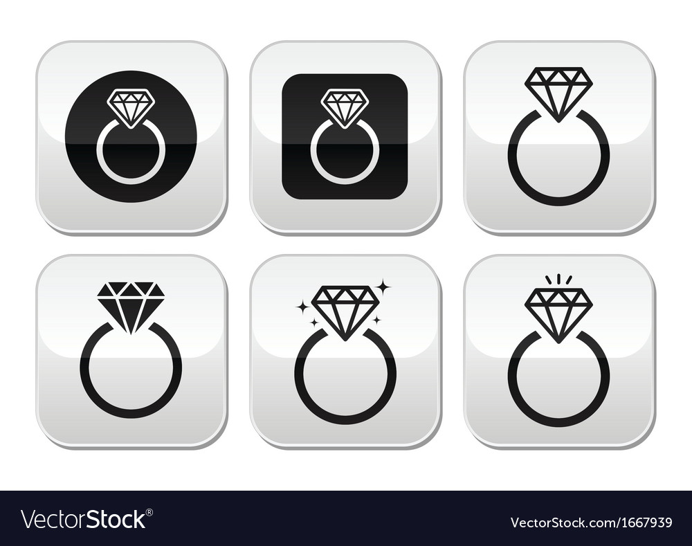 Diamond engagement ring buttons set