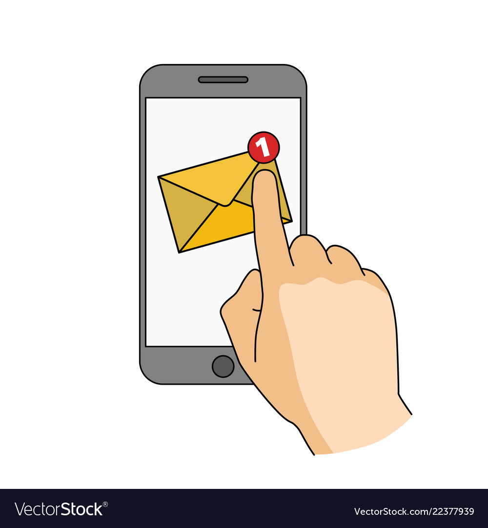 Finger touch smartphone screen with new mail