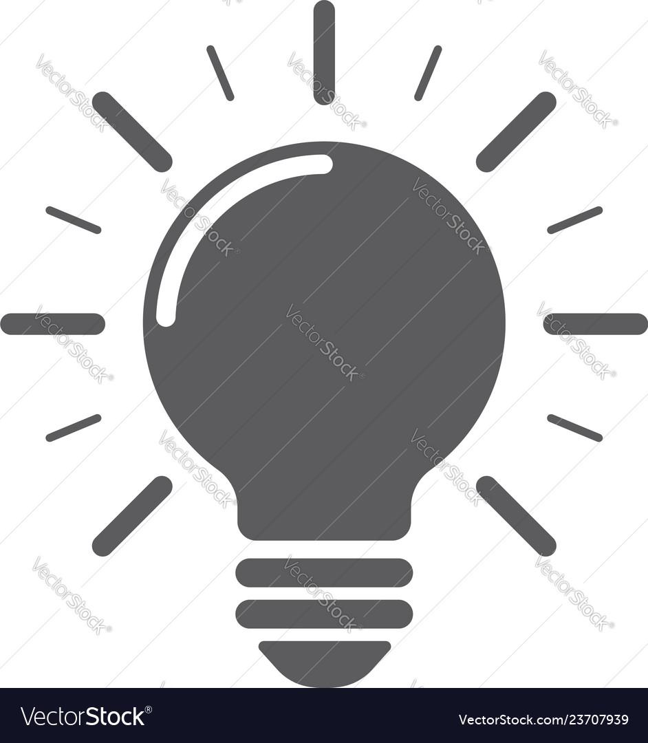 Light bulb with rays shine energy and idea symbol