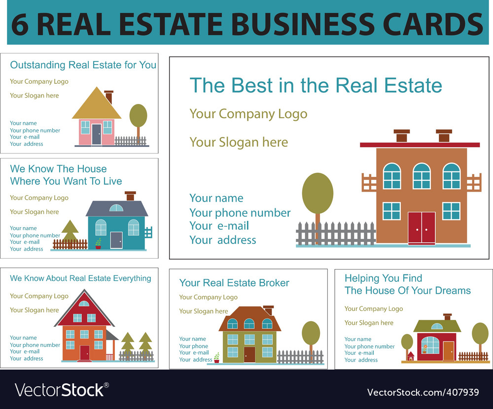 real estate business cards vector image - Real Estate Business Cards
