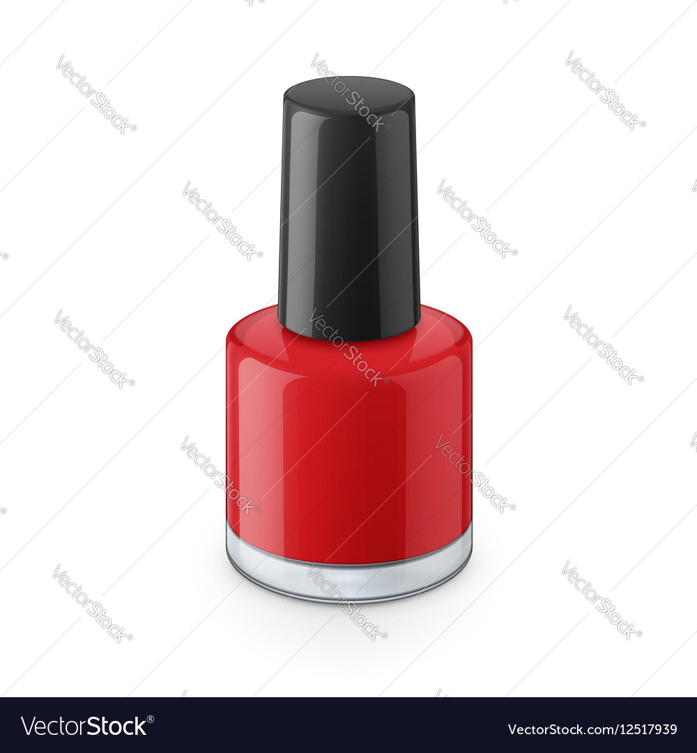 Round red glossy nail polish bottle vector image