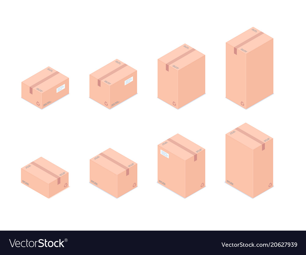 Set of isometric boxes isolated on white