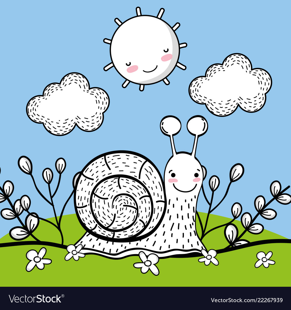 Snail animal with happy sun and clouds