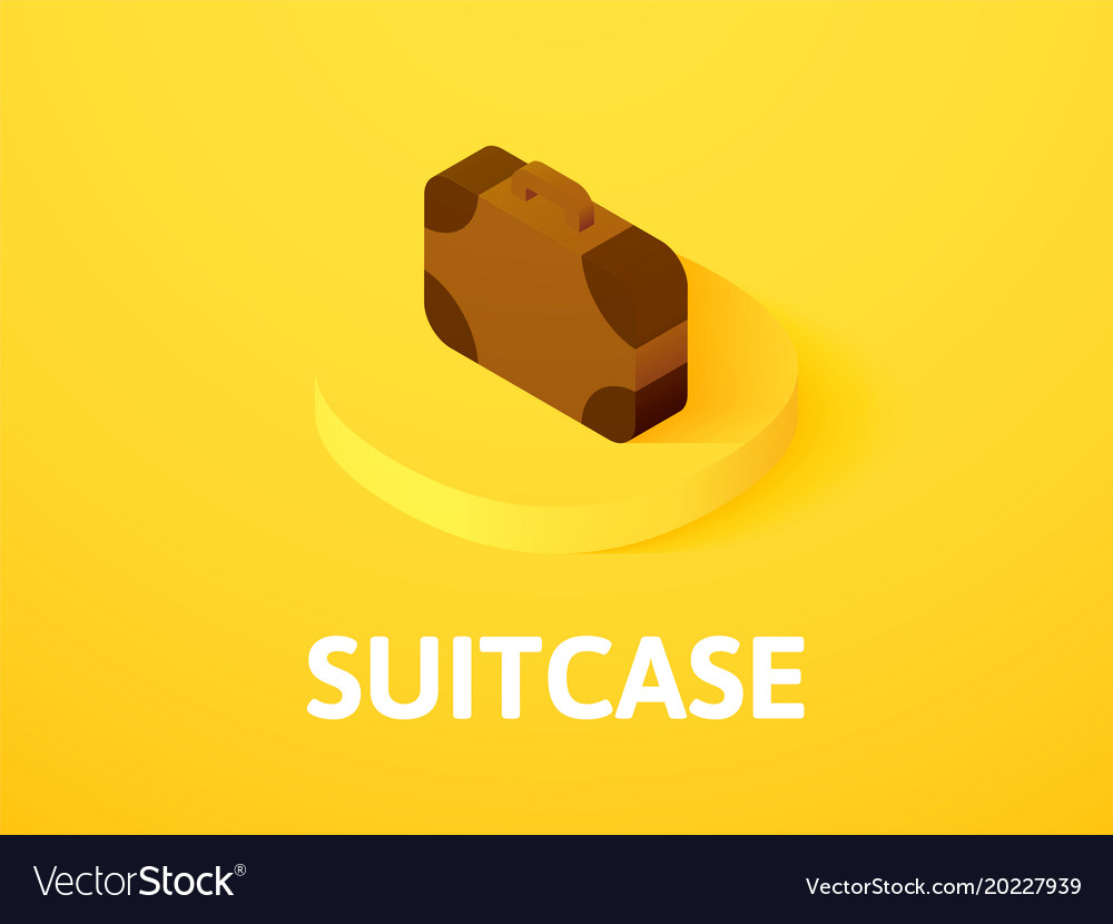 Suitcase isometric icon isolated on color