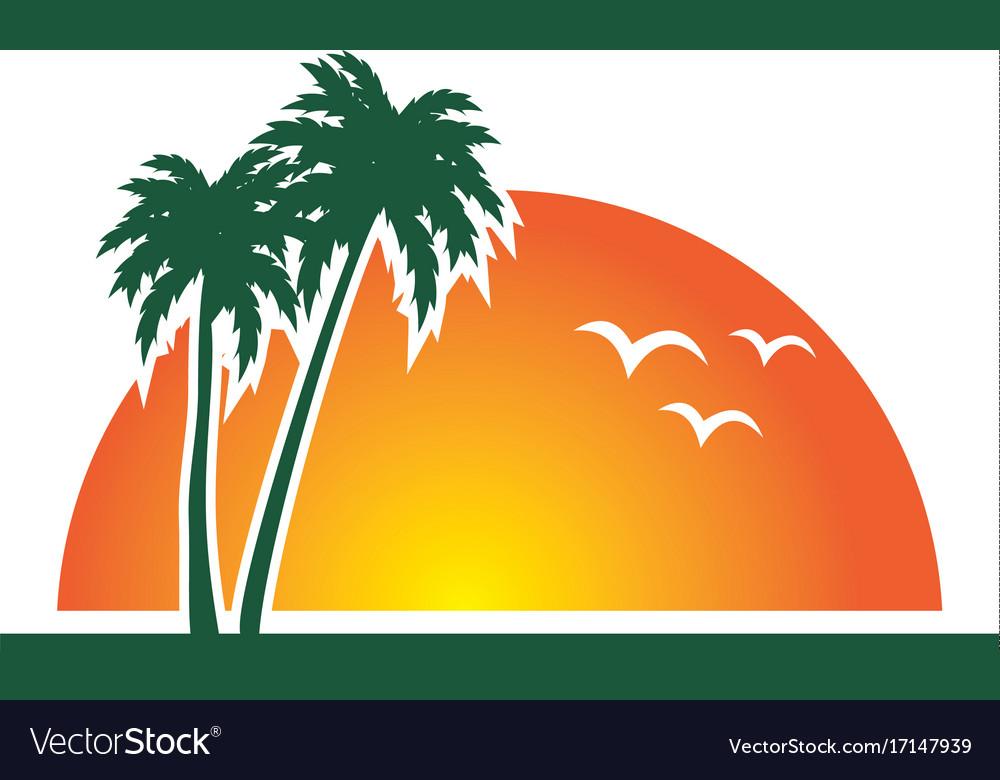 4f74fb1a08c9 Sunset beach palm tree tropic logo