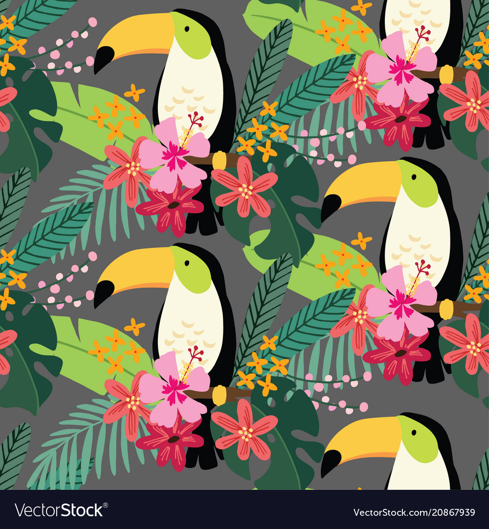 Tropical jungle seamless pattern with toucan bird