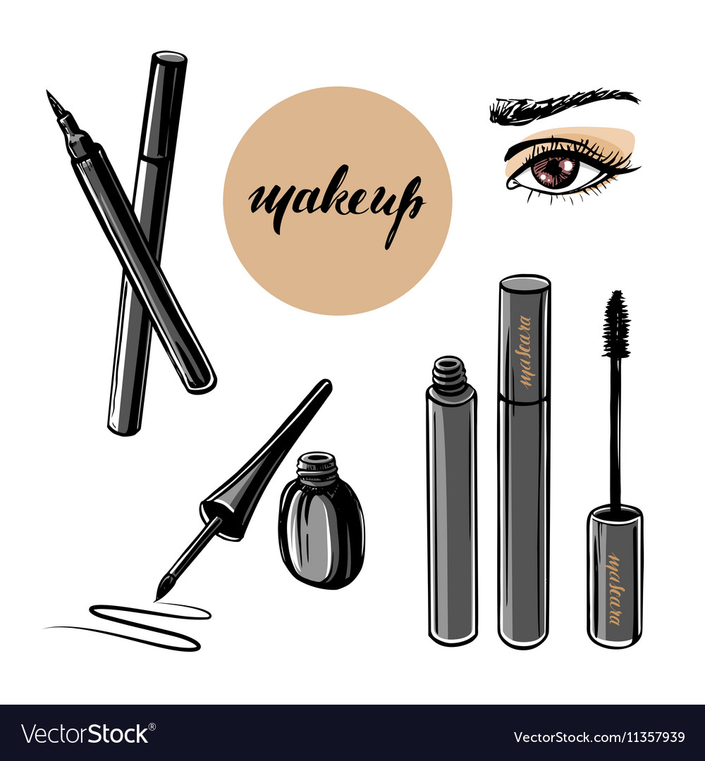 Woman eye and makeup vector image