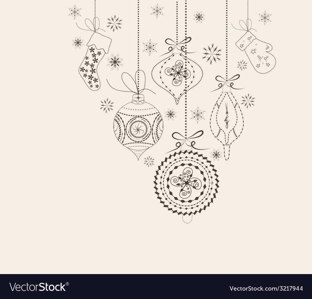 Christmas ornaments doodles vector image