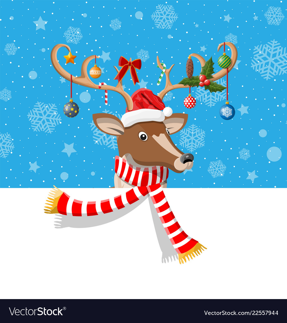 Cute deer with antlers scarf holly bow baubles