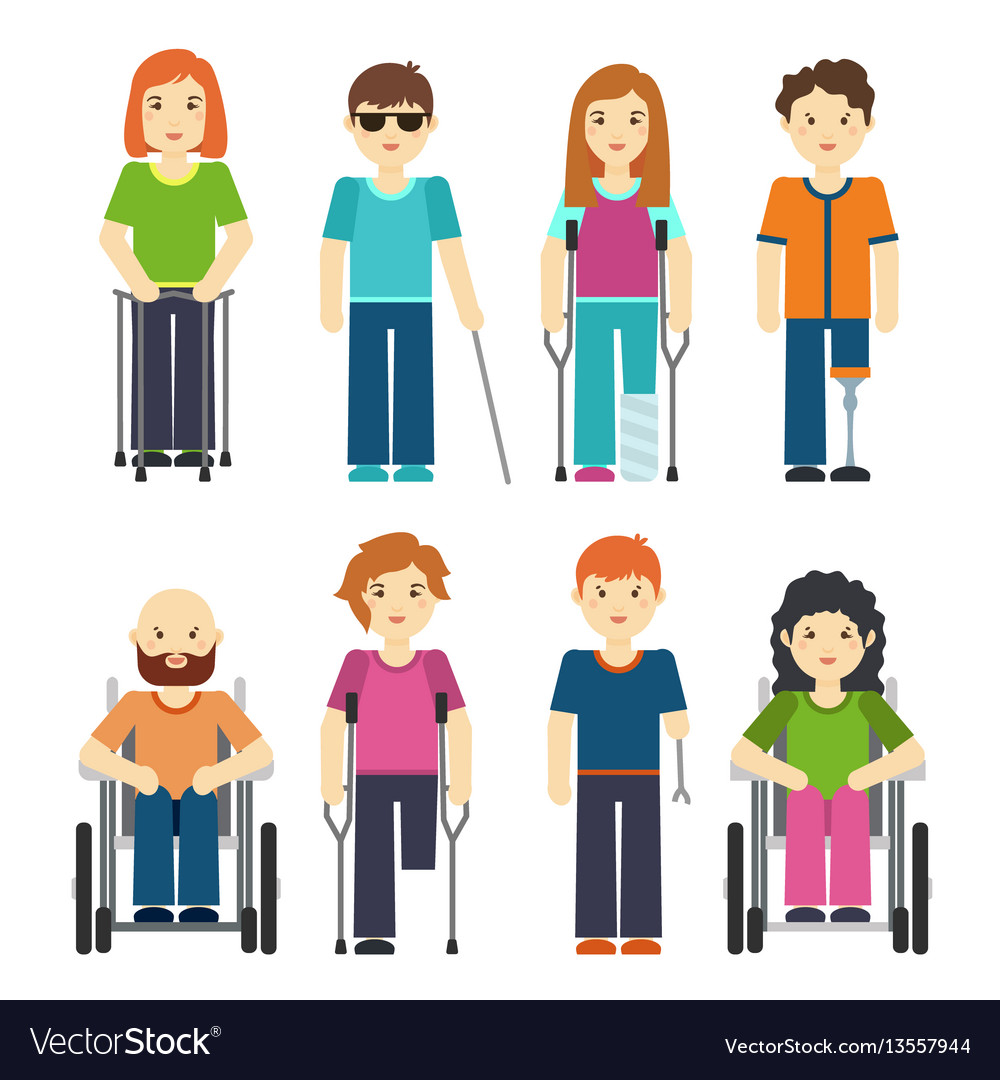 Disabled people isolated on white background