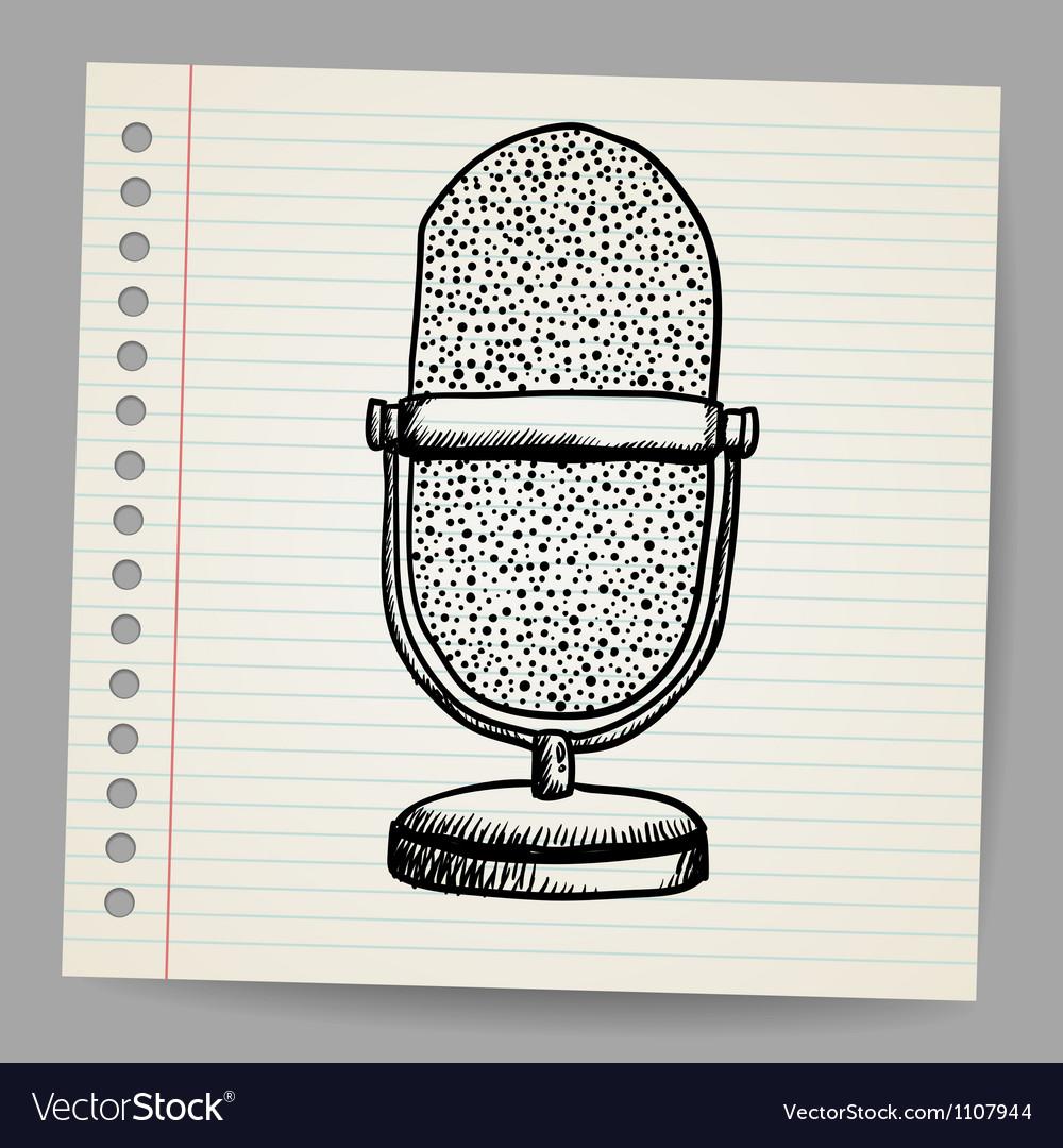Doodle retro microphone