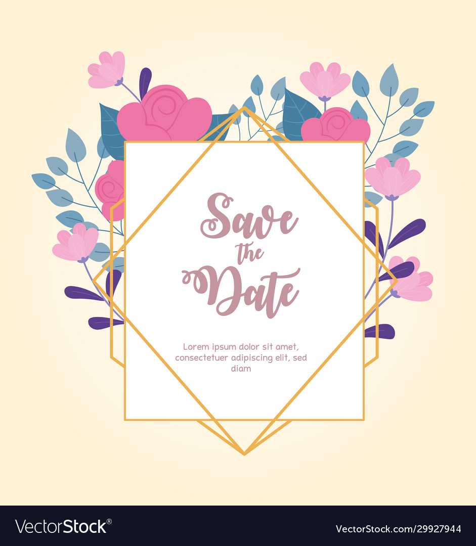 Flowers wedding save date ornate frame