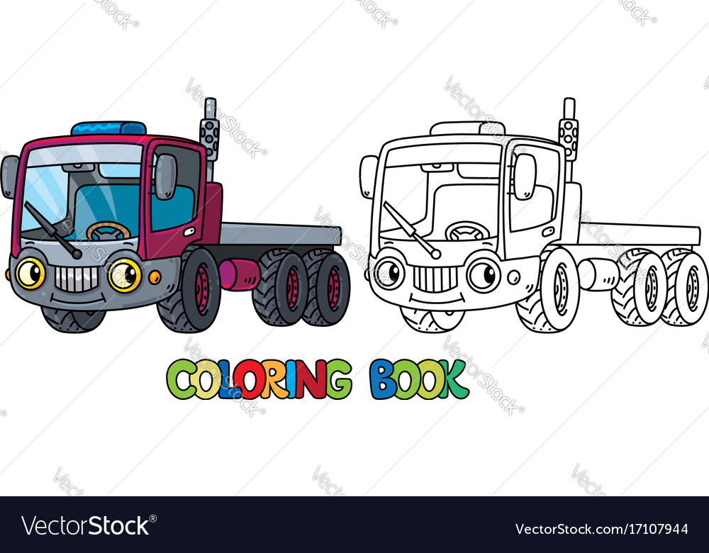 Funny small truck with eyes coloring book