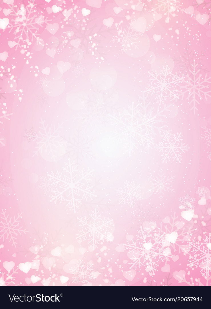 gradient pink background with snow snowflake and vector image