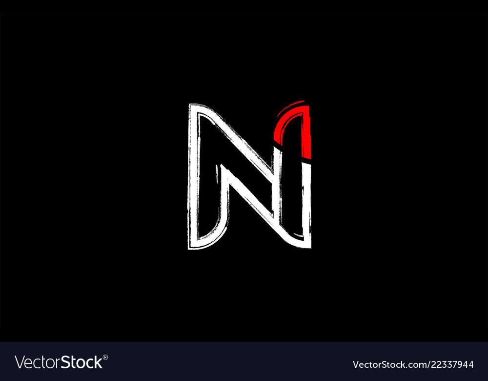 Cool Letter I Logo.Grunge White Red Black Alphabet Letter N Logo