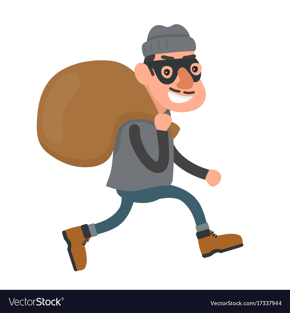 Happy smiling thief robber runs with a bag