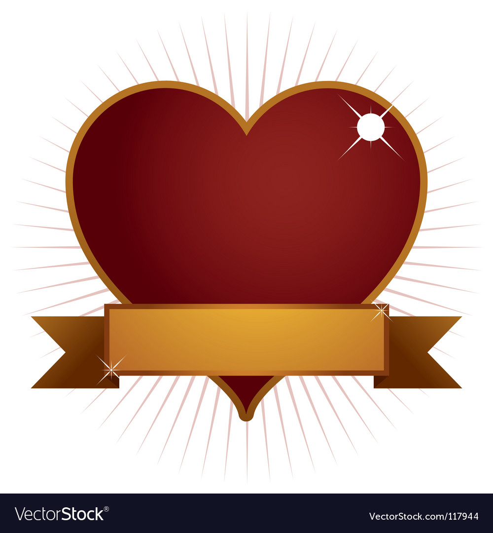 Heart with banner vector image