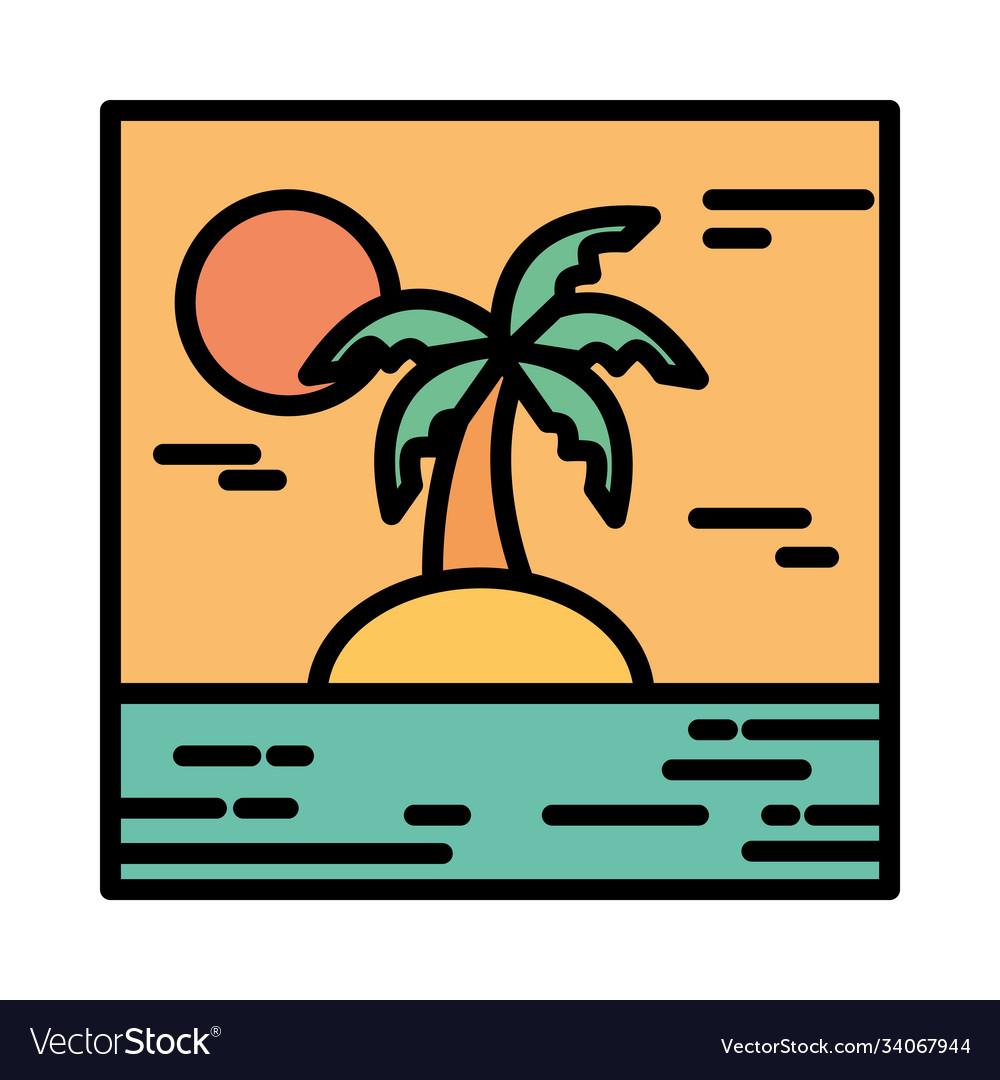 Landscape tropical island palm tree sun cartoon
