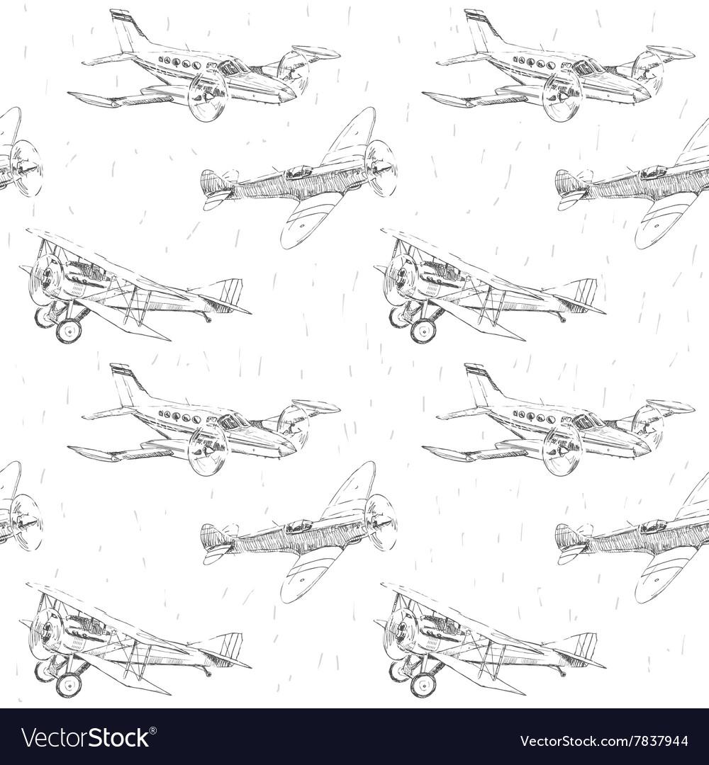 Propeller airplanes seamless pattern