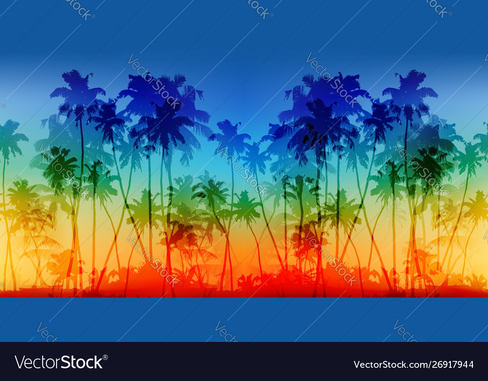 Rainbow colors palms silhouettes vintage