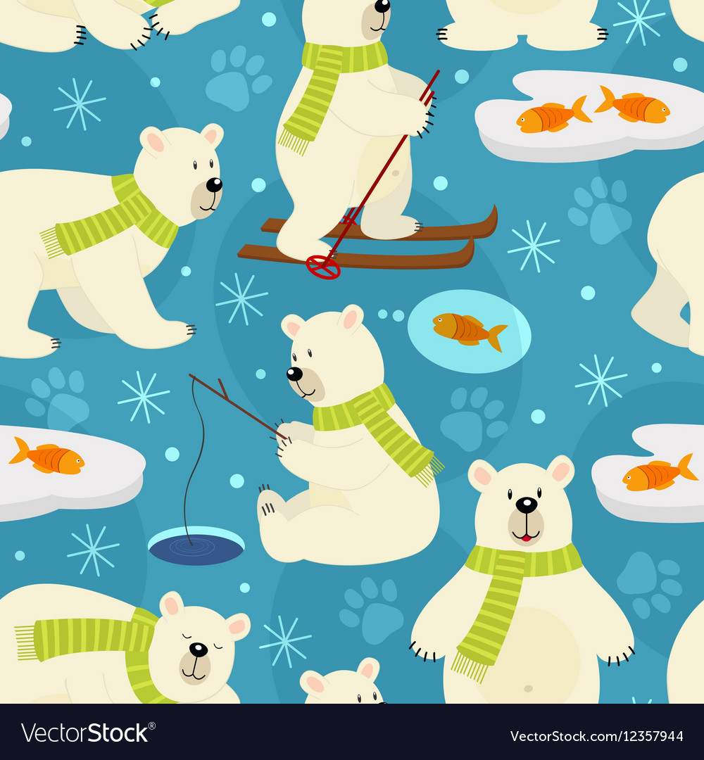 Seamless pattern polar bear