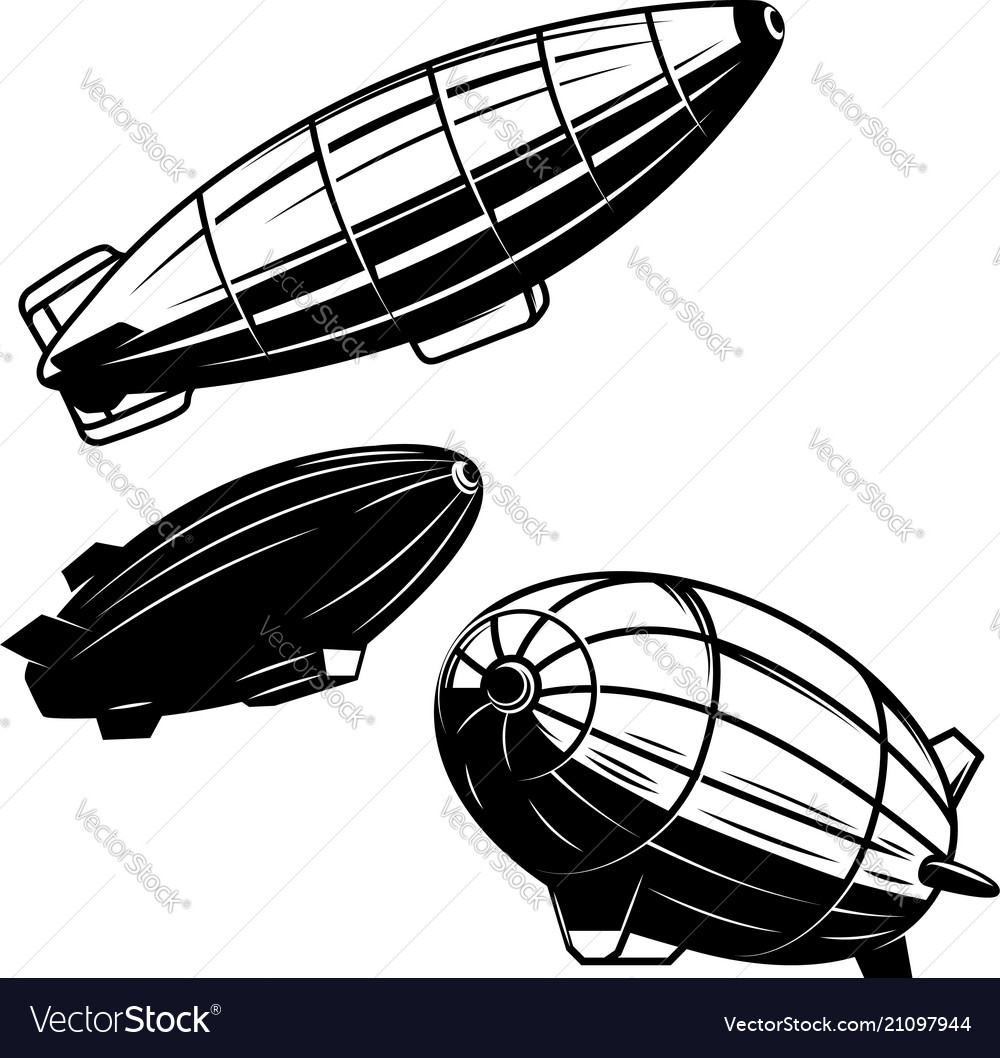 Set aerostat on white background airships vector