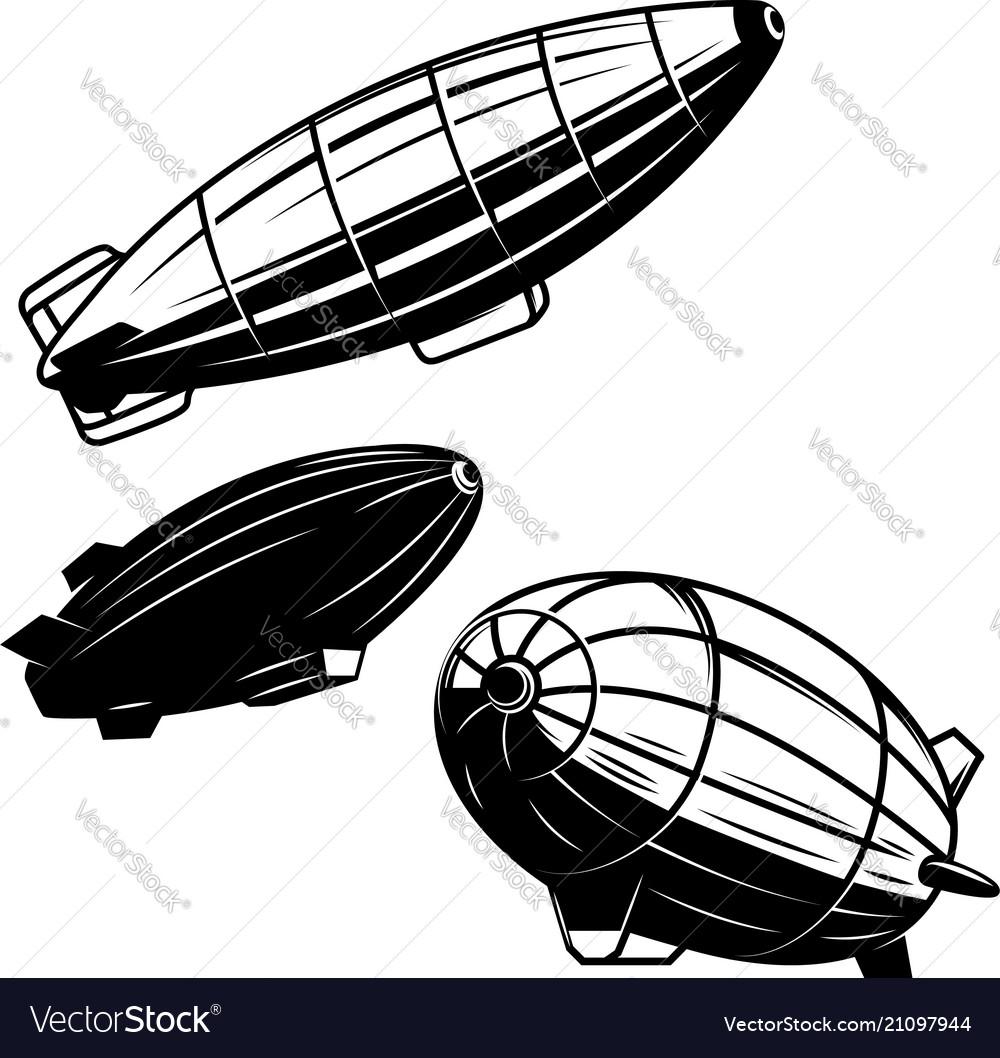Set of aerostat on white background airships