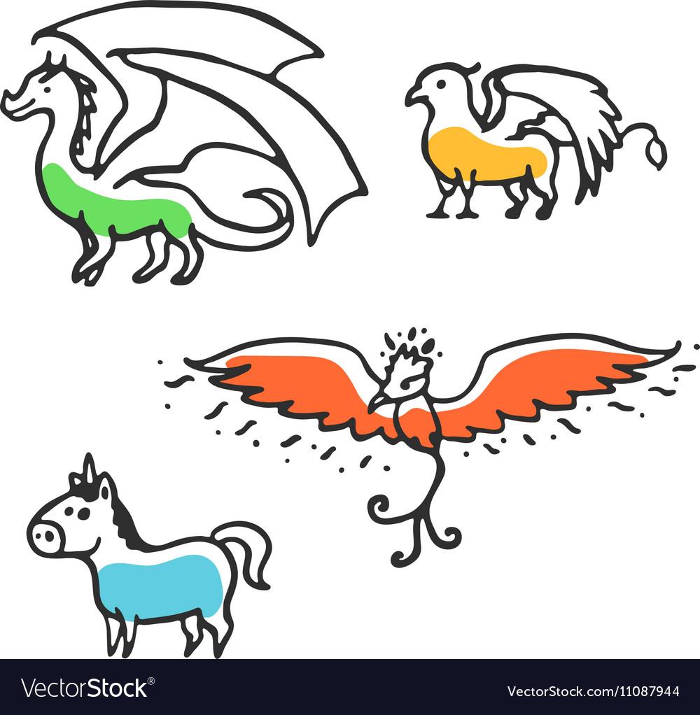 Set of cute little cartoon mythical beasts