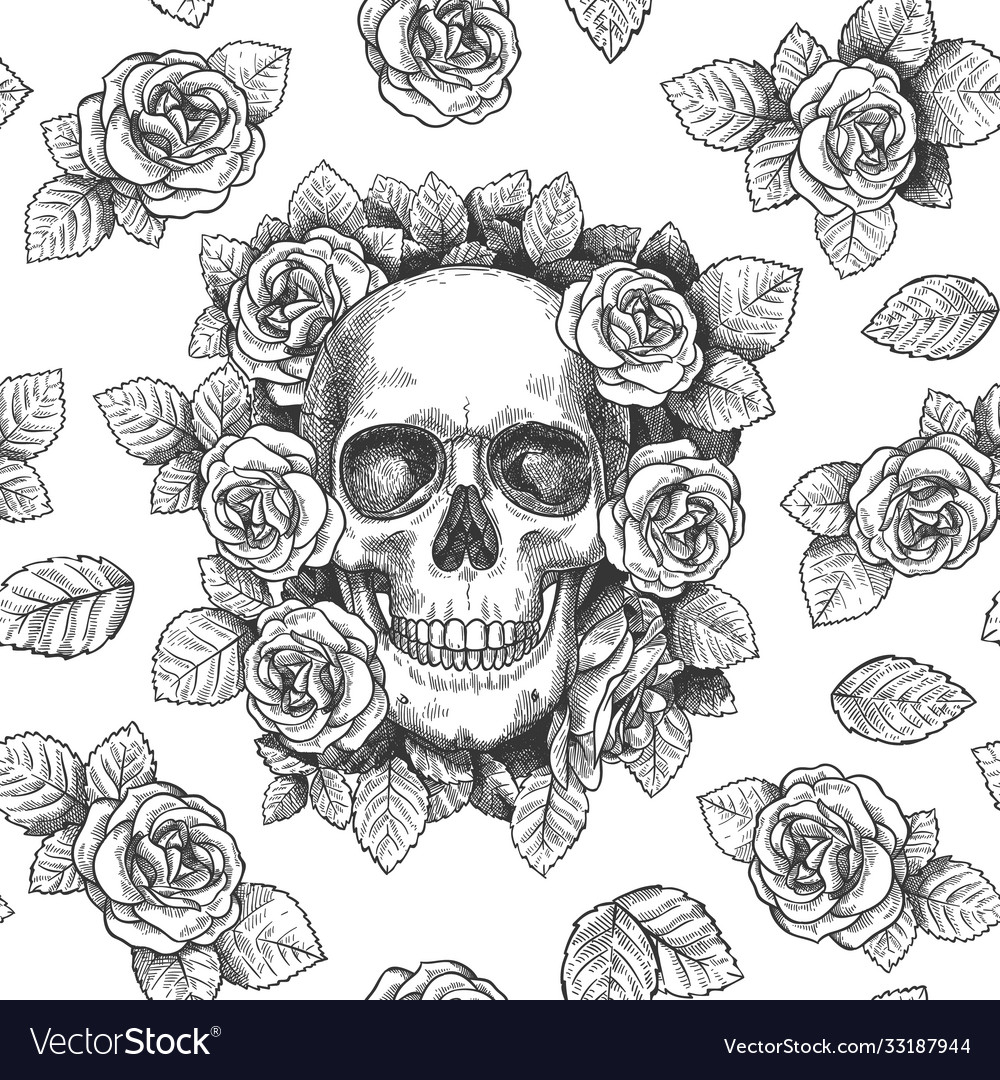 Skull with flowers sketch skulls with roses