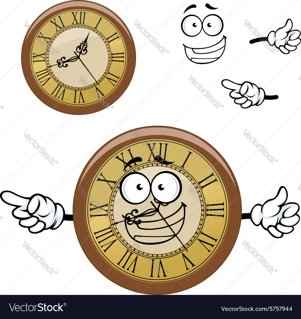Vintage isolated clock cartoon character