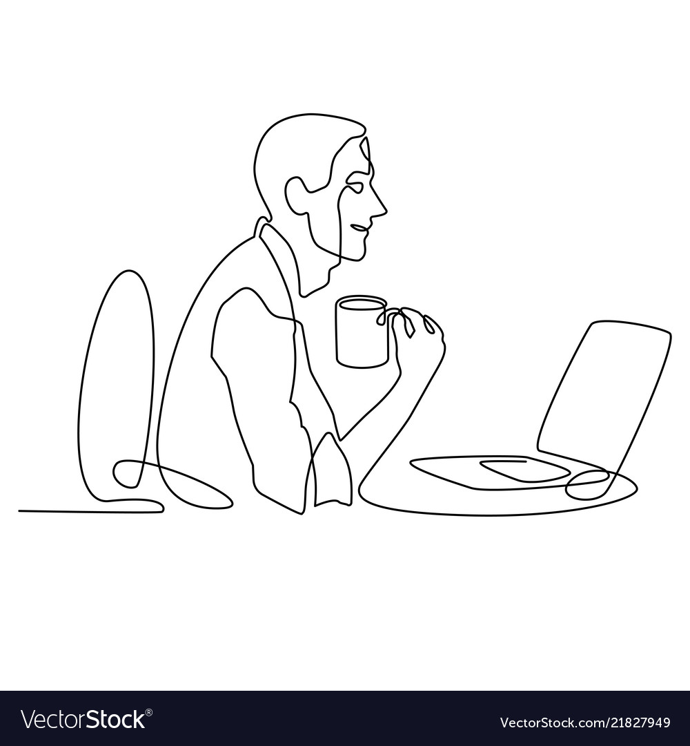 Continuous line drawing of businessman working
