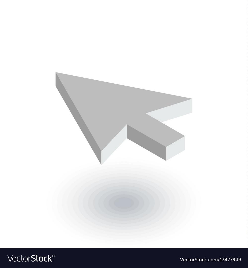 Cursor arrow click isometric flat icon 3d vector image