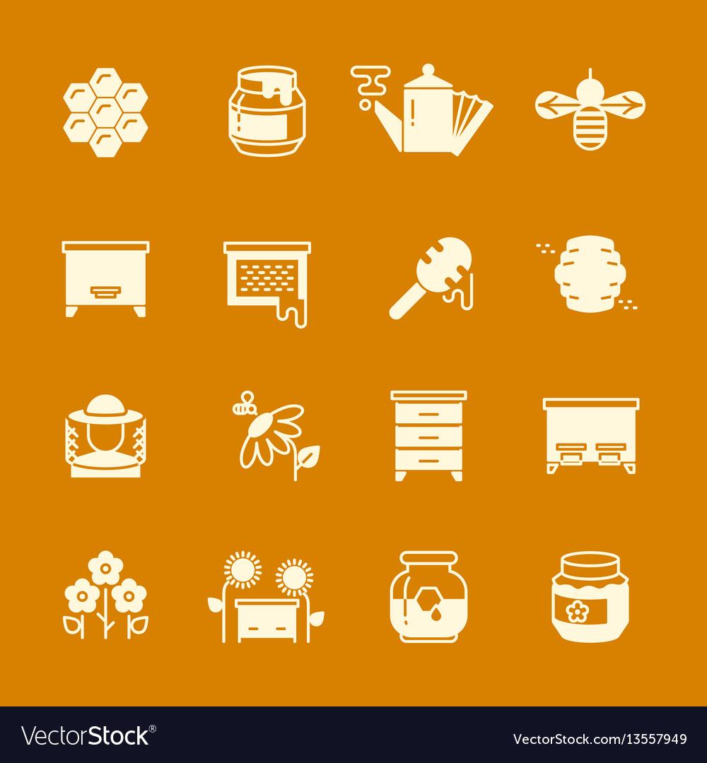Honey apiary icons set