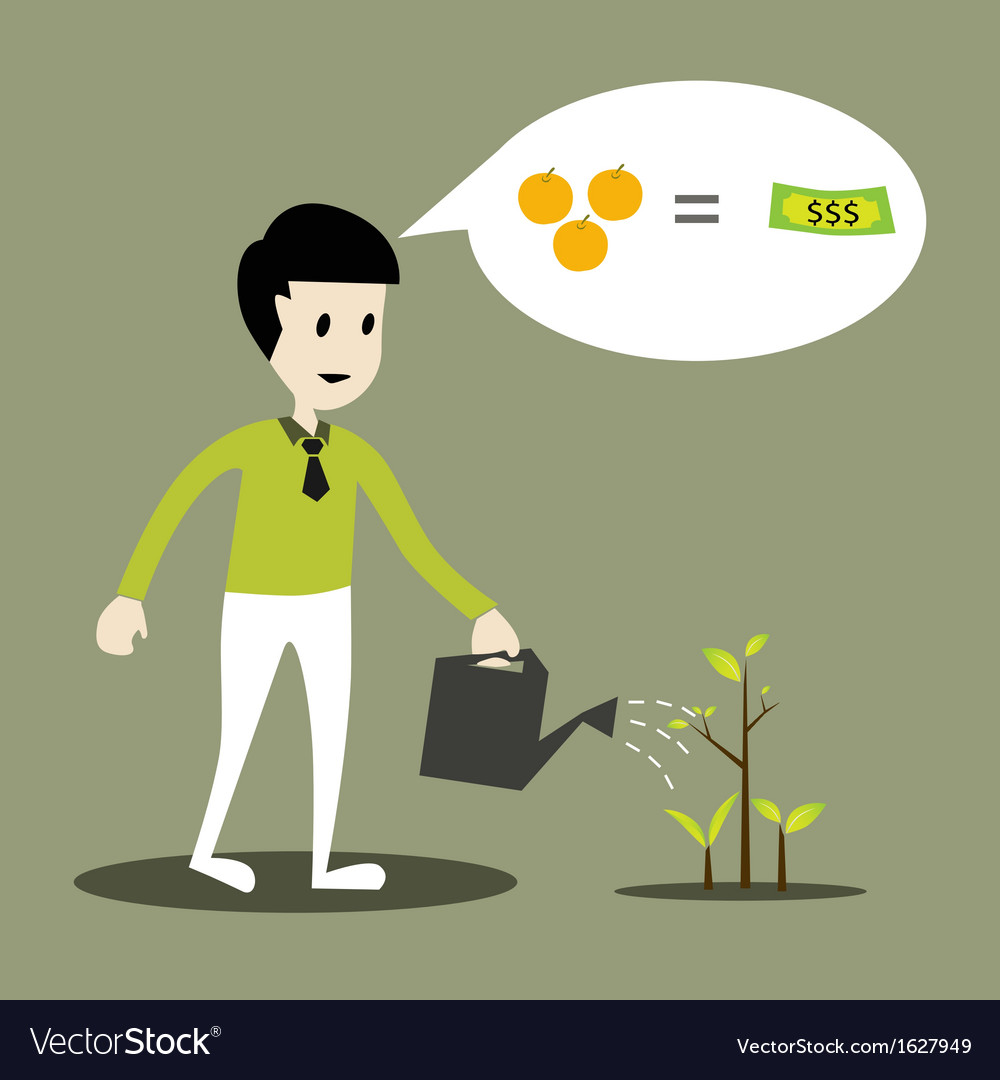 Human working of watering young plant concept vector image