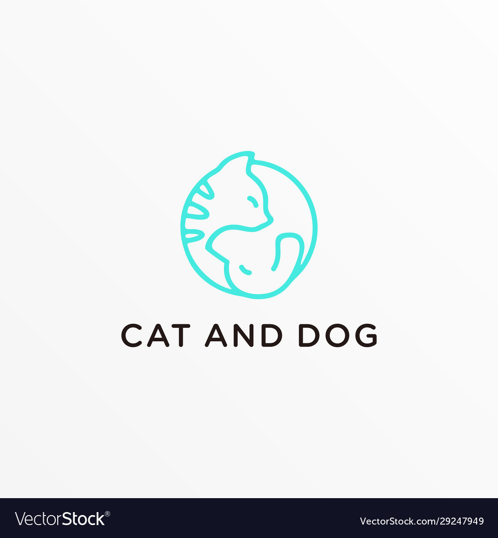 Logo cat a nd dog line art style