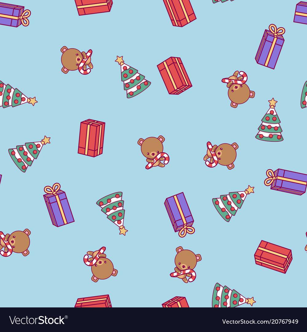 Merry christmas cute kawaii character pattern