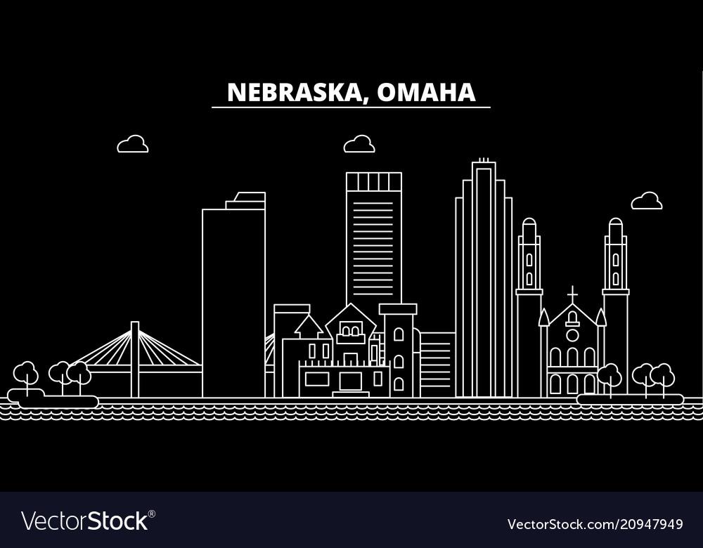 Omaha silhouette skyline usa - omaha city