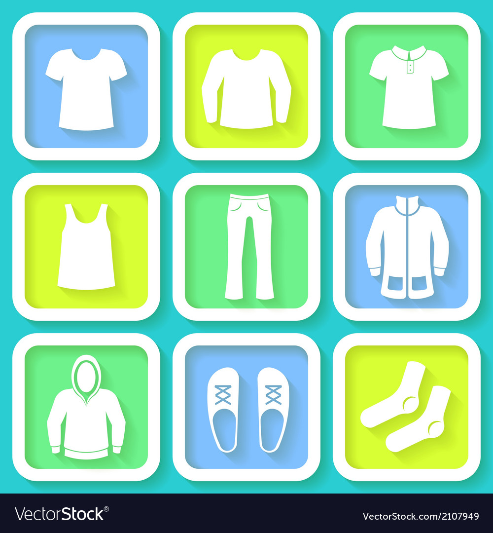 Set of 9 bright icons of men clothing