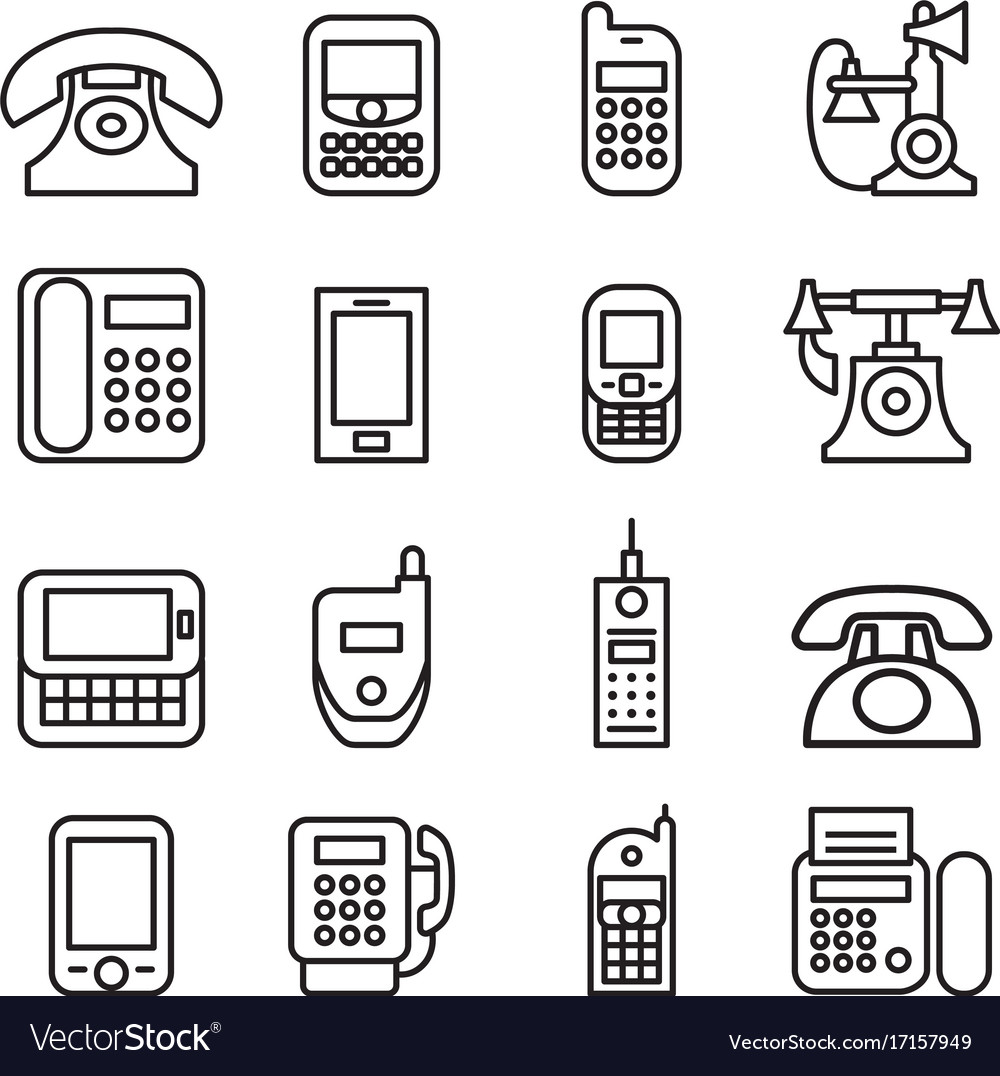 Telephone smart phone fax phone cell phone vector image
