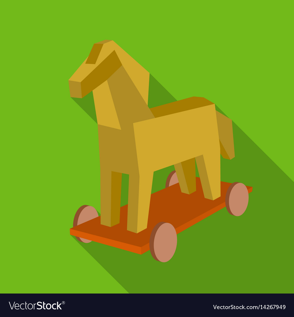 Trojan horse icon in flat style isolated on white vector image