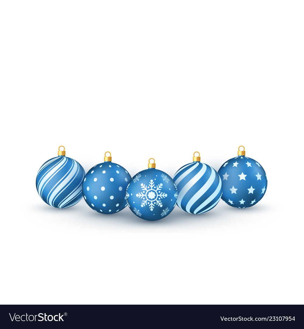 Blue christmas balls set holiday decorative