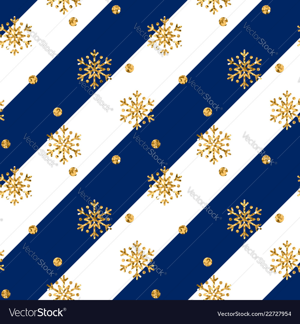 Christmas gold snowflake seamless pattern