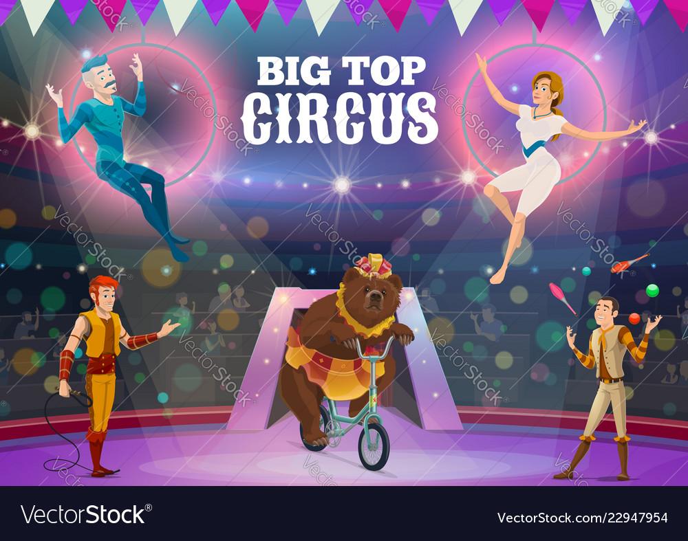Circus acrobats juggler and animals on arena