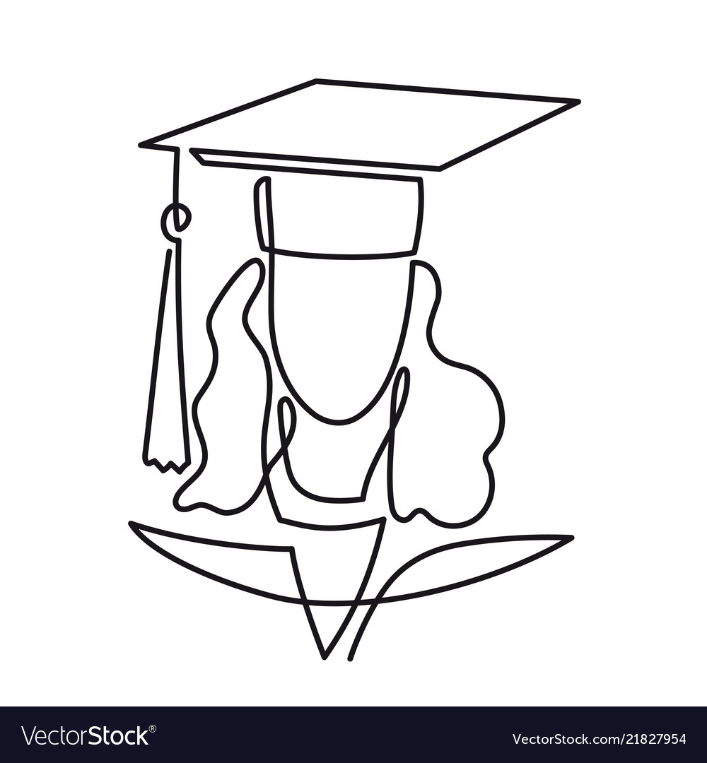 Continuous line drawing of graduation student