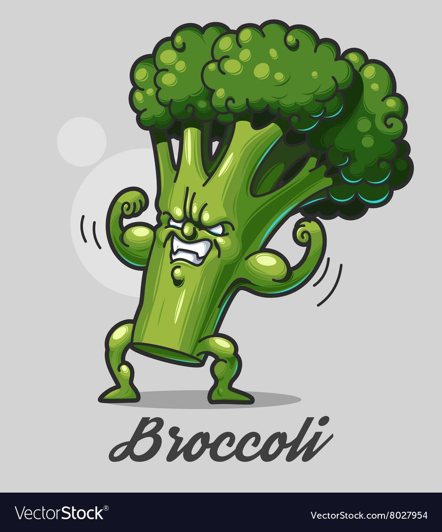 funny cartoon broccoli royalty free vector image vectorstock