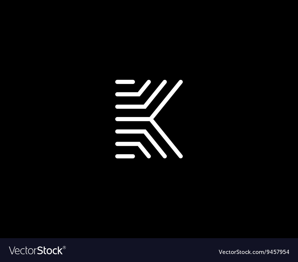 Line letter k logotype Abstract moving airy logo vector image